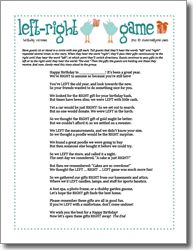 Left Right Birthday Printable Party Game