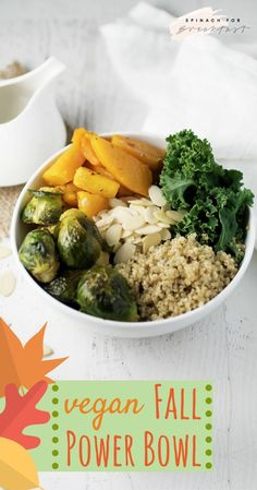 Vegan Fall Power Bowl -- Clean cleanse approved, this gluten free, dairy free, and vegan quinoa bowl is perfect for fall! Full of kale, brussels sprouts, and butternut squash, then topped with tahini, this bowl is the perfect balanced meal. Super easy, healthy, and delicious! Enjoy!