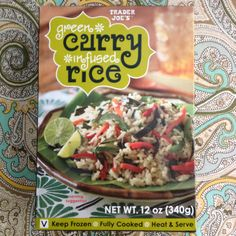 Green Curry Infused Rice- a few minutes in the microwave and you have very flavorful side dish with a spicy kick.  One box can serve two.