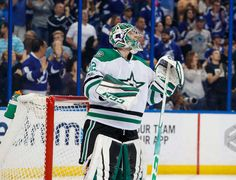 TAMPA, FL - APRIL 2: Goalie Kari Lehtonen #32 of the Dallas Stars watches the replay of the goal he allowed to against the Tampa Bay Lightning during third period at Amalie Arena on April 2, 2017 in Tampa, Florida. (Photo by Scott Audette/NHLI via Getty Images)