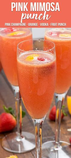 Pink Mimosa Punch is the perfect drink for brunch! Make this easy mimosa recipe for one or make a party punch! Pink champagne is mixed with orange juice, vodka, and fruit punch for the perfect mimosa cocktail! via @crazyforcrust