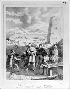 de Toren van Babel.   Grafic : Litho from : Handboek der Bijbelsche Geschiedenis Size Picture : 16 x 21 cm Year : 1830 Fecit : I.W.Vos Uitgev. : S.de Visser & J.van Baalen Rotterdam