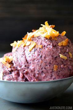 5-Minute Healthy Blueberry Frozen Yogurt