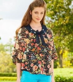 Rhinestone Embellished Floral Chiffon Top | Summer Outfit Ideas on Joann.com