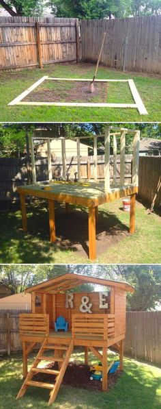 Pick up some lumber to create an incredible play fort for kids outdoor play area for kids Kids Outdoor Play, Outdoor Play Areas, Kids Play Area, Backyard For Kids, Backyard Play Areas, Childrens Play Area Garden, Cool Backyard Ideas, Play Area Outside, Kids Fun