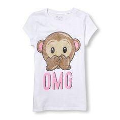 s Short Sleeve 'Omg' Monkey Emoji Puff-Print Graphic Tee - White T-Shirt - The Children's Place