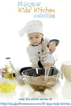 31 days of kids kitchen activities - everything from kid-made recipes, kitchen science experiments, and kid-friendly kitchen set-ups. We're covering it all during our 31 Days of Kids' Kitchen Activities!