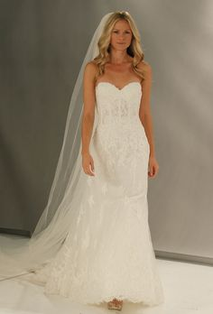 """Brides: Wtoo - Fall 2012. """"Bristol"""" strapless Alencon lace slim trumpet wedding dress with a sweetheart neckline and corset bodice, Wtoo"""