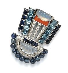 Art Deco Platinum Gem-Set Brooch by Oscar Heyman