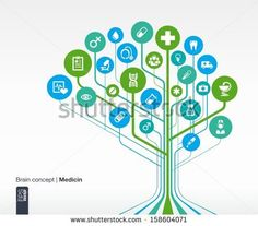 Abstract medicine background. Brain concept with medical, health, healthcare, nurse, tooth, thermometer, doctor, pills and cross icon. Vector infographic illustration. - stock vector