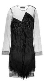 Alexander WangFringed tulle and silk dress