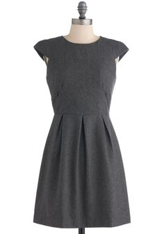 Grey-t Success Dress - Mid-length, Grey, Solid, Pleats, Work, A-line, Cap Sleeves, Fall, Vintage Inspired