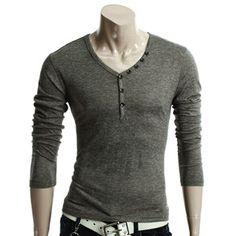Mens Button Point V-neck T-shirts Henley Shirts, Shirt Blouses, Next Fashion, Men's Fashion, V Neck T Shirt, Men Casual, Menswear, Plus Size, My Style