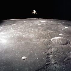 The Apollo 12 lunar module over the Moon, November 19, 1969.