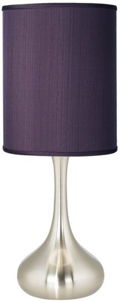 Modern Eggplant Textured Silk 24 1/2-Inch-H Kiss Table Lamp -