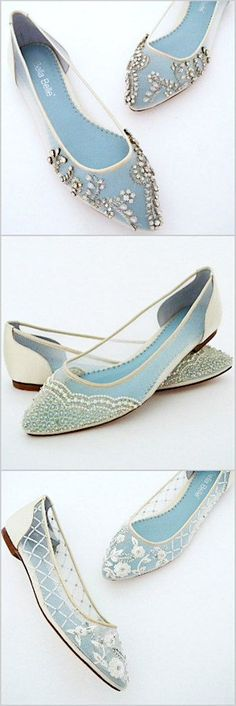 Romantic flat wedding shoes. The prettiest flat bridal shoes by Bella Belle.
