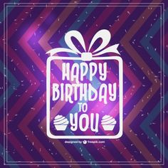 Zigzag Happy birthday card with white present Free Vector