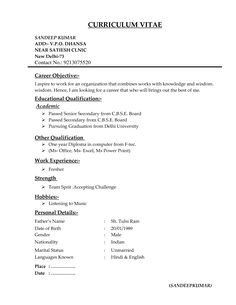 M Pharm 3 Resume Format Pinterest Resume Format And Resume