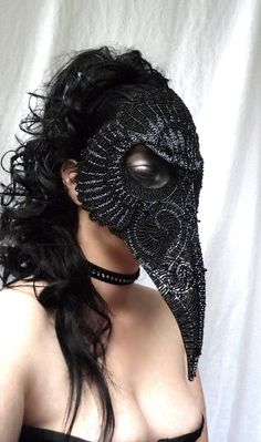 Raven masquerade mask gothic handmade by gringrimaceandsqueak <3 found on a beadwork board... just amazing