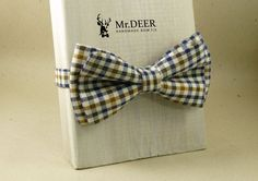 Brown Blue Checked bow tie - Colorful - Adult Bow Tie - Mens bowtie - groomsman, wedding bow tie - gift for him - rustic wedding - Mr.DEER by MrDEERbowtie on Etsy