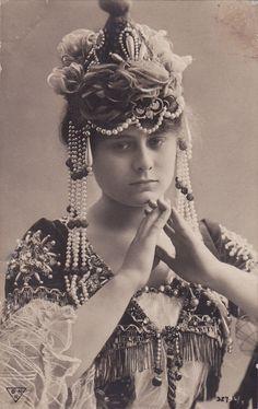 Young Lady with Beautiful Art Nouveau Headpiece (Geraldine Farrar?)
