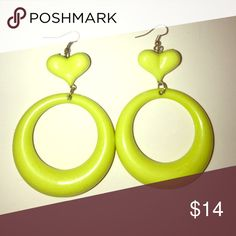 70s vintage lime green lucite mod disco earrings! Totally awesome retro and attention grabbing. Like new! Youll look like a disco Barbie. Barbie Jewelry Earrings