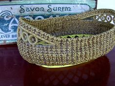 Vintage Antique Pin needle Bread Basket