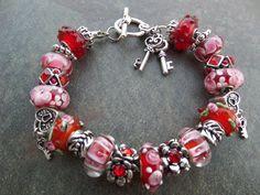 European Style Murano Glass Beads Charm Bracelet Red Pink Heart | eBay