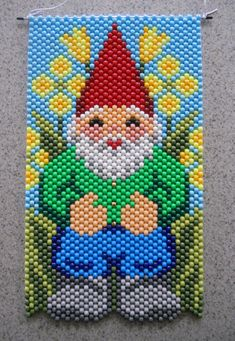 Handmade Mr Man Gnome Beaded Banner with Nylon Cord Hanger Pony Bead Patterns, Peyote Patterns, Beading Patterns, Kandi Patterns, Seed Bead Flowers, Beaded Banners, Beads Pictures, Cross Stitch Kitchen, Canvas Wall Decor