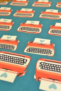 Melody Miller Ruby Star Shining Typewriter Fabric in Blue from Kokka - 1 Yard. $21.80, via Etsy.