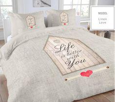 Beżowe pościele holenderskie z bawełny LIFE IS BETTER WITH YOU