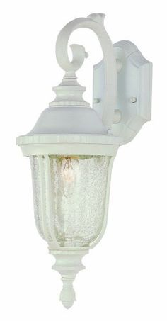 Trans Globe Lighting 4020 WH 20-Inch 1-Light Outdoor Down Wall Lantern, White by Trans Globe Lighting. $57.23. From the Manufacturer                Trans Globe Lighting 4020 WH 20-Inch 1-Light Outdoor Down Wall Lantern, White                                    Product Description                A classic Tuscan outdoor light fixture for walls that hangs from decorative wall arm. Crackle glass casts a soft forest glow.. Save 14%!