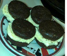 Desert Homemade brownies Ice cream sandwich Brownie cookies and vanilla ice cream