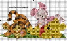 schema baby pooh, pimpi e tigro punto croce