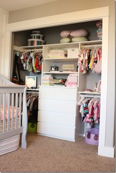 closet for multiples, boy and girl. Lots of good ideas for me!