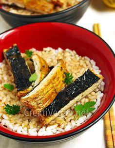Unagi modoki / faux-nagi / mock eel / vegan fish steak (instructions in Spanish) Tempeh, Tofu, Sushi Recipes, Asian Recipes, Real Food Recipes, Real Foods, Vegan Fish, Raw Vegan, Vegan Japanese Food