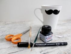 DIY Moustache Mug – Moustache, Mugs, Diy, Crates, Mustache, Bricolage, Tumblers, Do It Yourself, Mug