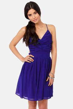 Pretty Royal Blue Dress - Backless Dress - $45.00 perezluv