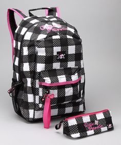 Look at this Black & White Plaid Backpack & Pencil Case on #zulily today!