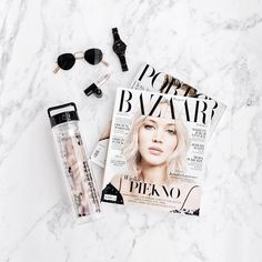 Flatlay Inspiration · via Custom Scene · Magazines with accesories and drink bottle on white marble background. Flat Lay Photography, Photography Business, Product Photography, Flat Lay Inspiration, Flat Lay Photos, Web Design, Blog Design, Girly, Flatlay Styling
