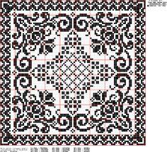 doily of filet crochet Cross Stitch Cushion, Cross Stitch Tree, Cross Stitch Borders, Cross Stitch Charts, Cross Stitch Designs, Cross Stitching, Cross Stitch Embroidery, Cross Stitch Patterns, Filet Crochet Charts