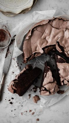 This chocolate hazelnut meringue cake is a chocolate bomb. The cake is dense and fudgy like a brownie and the chocolate meringue is crispy yet chewy. Chocolate Bomb, Flourless Chocolate, Chocolate Hazelnut Cake, Chocolate Meringue Cake Recipe, Dark Chocolate Brownies, Chocolate Recipes, Just Desserts, Delicious Desserts, Yummy Food