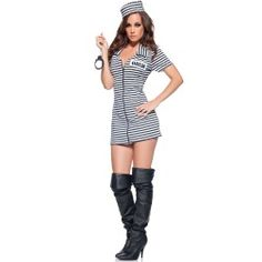 Funky Miss Behaved Sexy Striped Prison Uniform Dress Adult Costume. Recent collection of Cops, Detective & Gangster Costumes at PartyBell. Sexy Adult Costumes, Costumes For Women, Gangster Costumes, Female Costumes, Inmate Costume, Convict Costume, Robber Costume, Cop Costume, Bird Costume