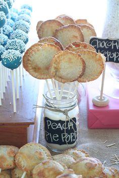 Peach Pie pops. Cute in the mason jar! Great for Rustic wedding dessert table.