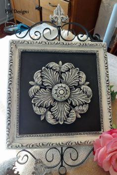 Metal Fleur Di Lis Wall Plaque Black White by PJH Designs