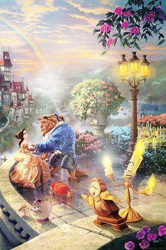 Belle and the beast, dancing together in the moonlight. This Walt Disney classic has been fanatically interpreted here by Thomas Kinkade, the artist of light. Disney Pixar, Film Disney, Disney Fan Art, Disney Animation, Disney Images, Disney Pictures, Cute Disney Wallpaper, Cartoon Wallpaper, Disney Dream