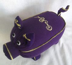 crown royal pig 3 - for all my bags! Crown Royal Bottle, Crown Royal Bags, Royal Crowns, Sewing Crafts, Sewing Projects, Pig Crafts, Sewing Ideas, Sewing Patterns, Crown Royal Quilt