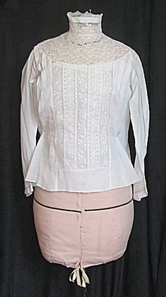 Circa:  1900-1918 Condition: Pre-owned Size: Small    Ivory Cream, Lace Edwardian #Gibson Girl Era Shirtwaist.  Delicate Open Lace Work.  Buttons up Sheer Back, Long Fitted Sleeves.  Lovely for Wear or Display.