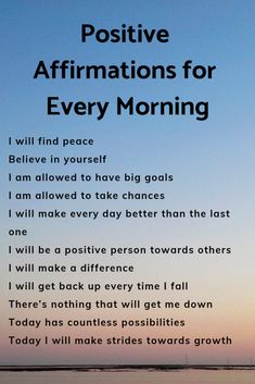 Positive affirmations to start your day off right! Set the mood for your day first thing these morning affirmations! Positive Affirmations Quotes, Self Love Affirmations, Morning Affirmations, Law Of Attraction Affirmations, Affirmation Quotes, Affirmations For Anxiety, Affirmations For Women, Manifestation Law Of Attraction, Law Of Attraction Quotes