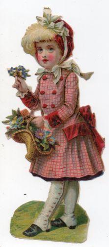 Chromo-decoupi-oblaten-glanzbild-victorian-die-cut-scrap-Fillette-aux-fleur-12cm
